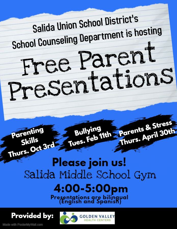 Free Parent Presentations. Parenting Skills on October 3, Bullying February 11, Parents and Stress April 30.