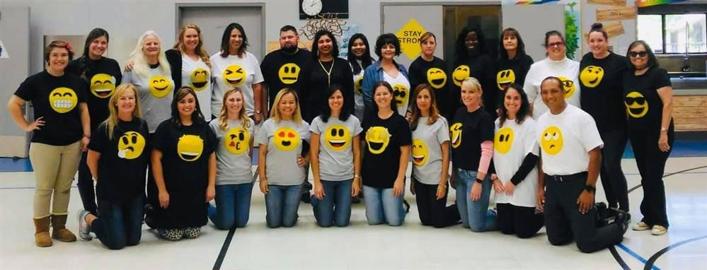 The Mildred Perkins and ICS Staff Members dress as Emojis for Red Ribbon Week!