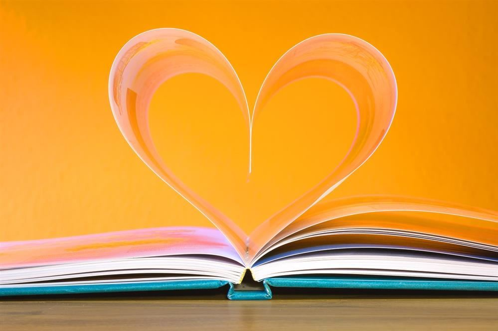 picture book with pages shaped into heart