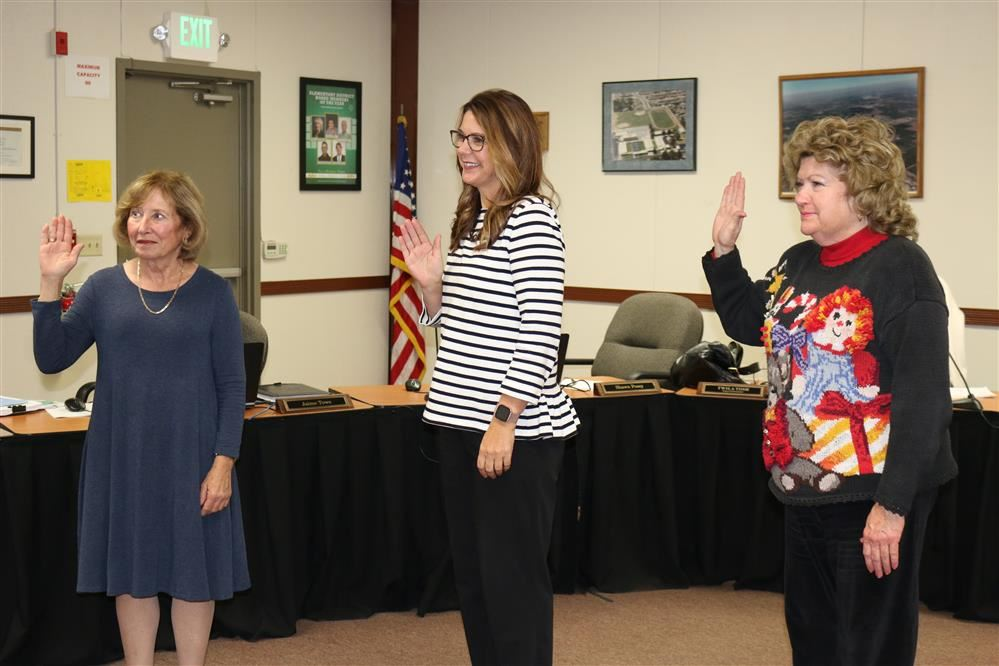 Board members Linda Brughelli, Nanci Fox, Virginia Berry sworn in
