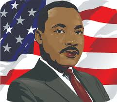 Martin Luther King, Jr. in front of an American flag